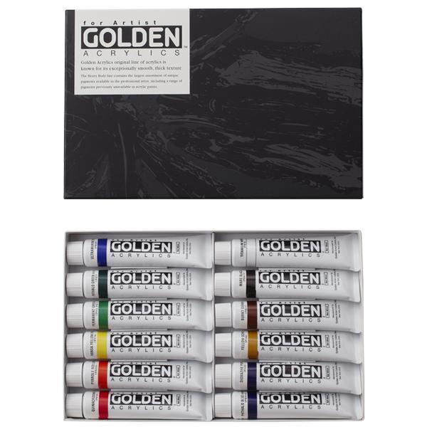 ターナー色彩 アクリル絵具 ゴールデンアクリリックス 60ml 12色セット GL06012C
