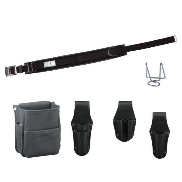 DENSANデンサン(ジェフコム) 高級革製電工プロ腰道具セット(ブラック) 柱上安全帯用ベルト+腰回り5品 JNDS-55BK-SET