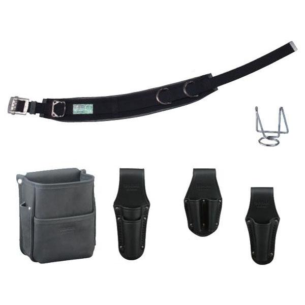DENSANデンサン(ジェフコム) 高級革製電工プロ腰道具セット 柱上安全帯用ベルト カーブタイプ+腰回り5品 JNDS-R96BK-SET