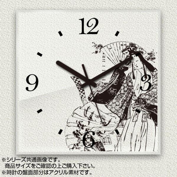 MYCLO(マイクロ) 壁掛け時計 アクリル素材(クリア) 四角 30cm 和風デザイン 日本画 com323