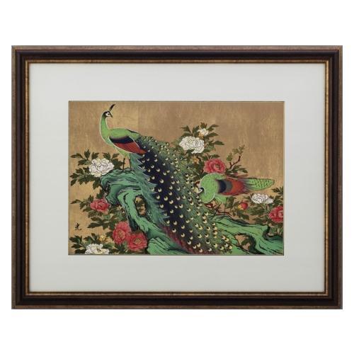 高岡銅器 彫金パネル 孔雀に牡丹(金箔アート) 147-02
