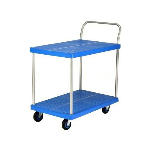 プラスチックテーブル台車 テーブル2段式 最大積載量150kg PLA150Y-T2送料込!【代引・同梱・ラッピング不可】