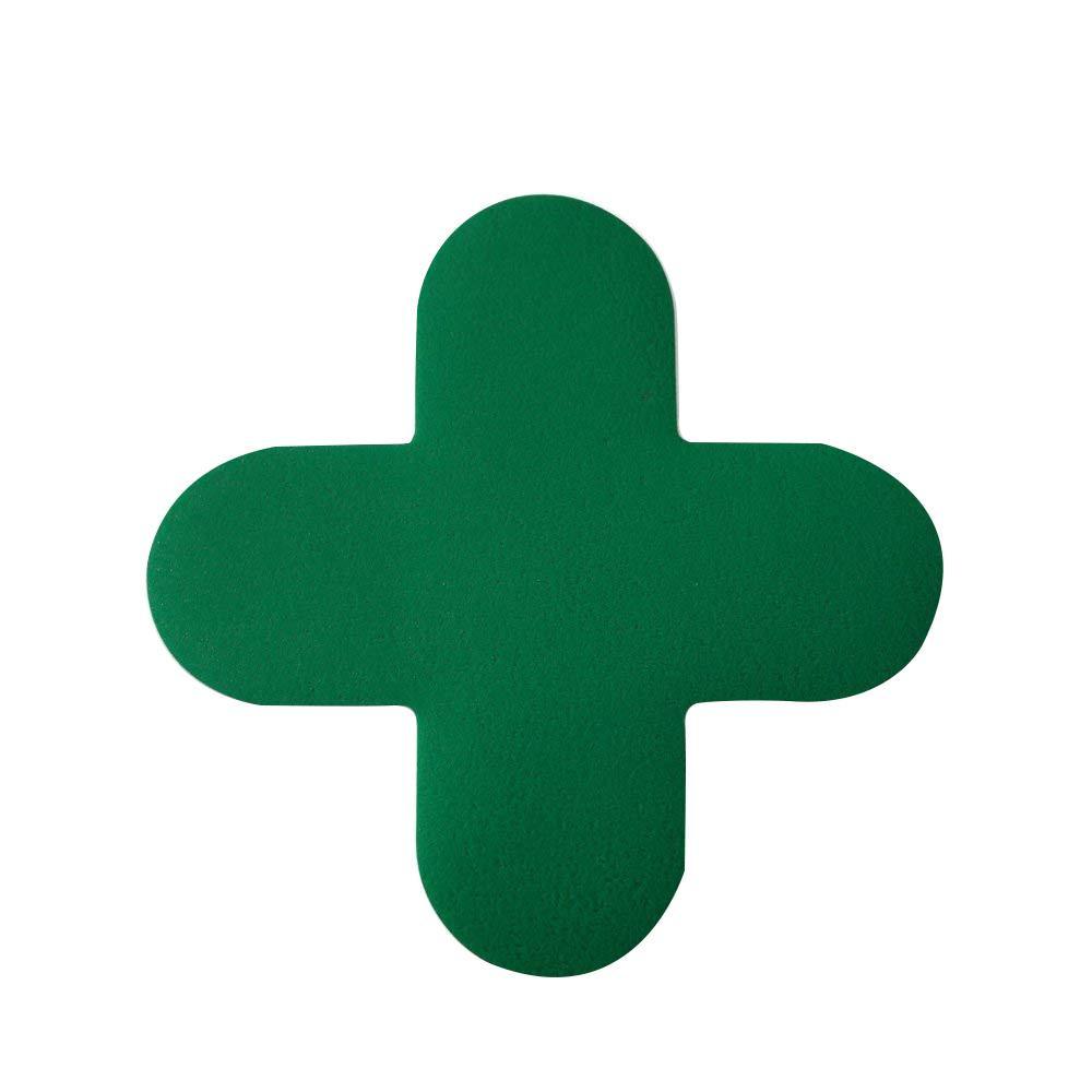 フロア表示ステッカー(十字型)緑 150×150mm 10枚組 J1020