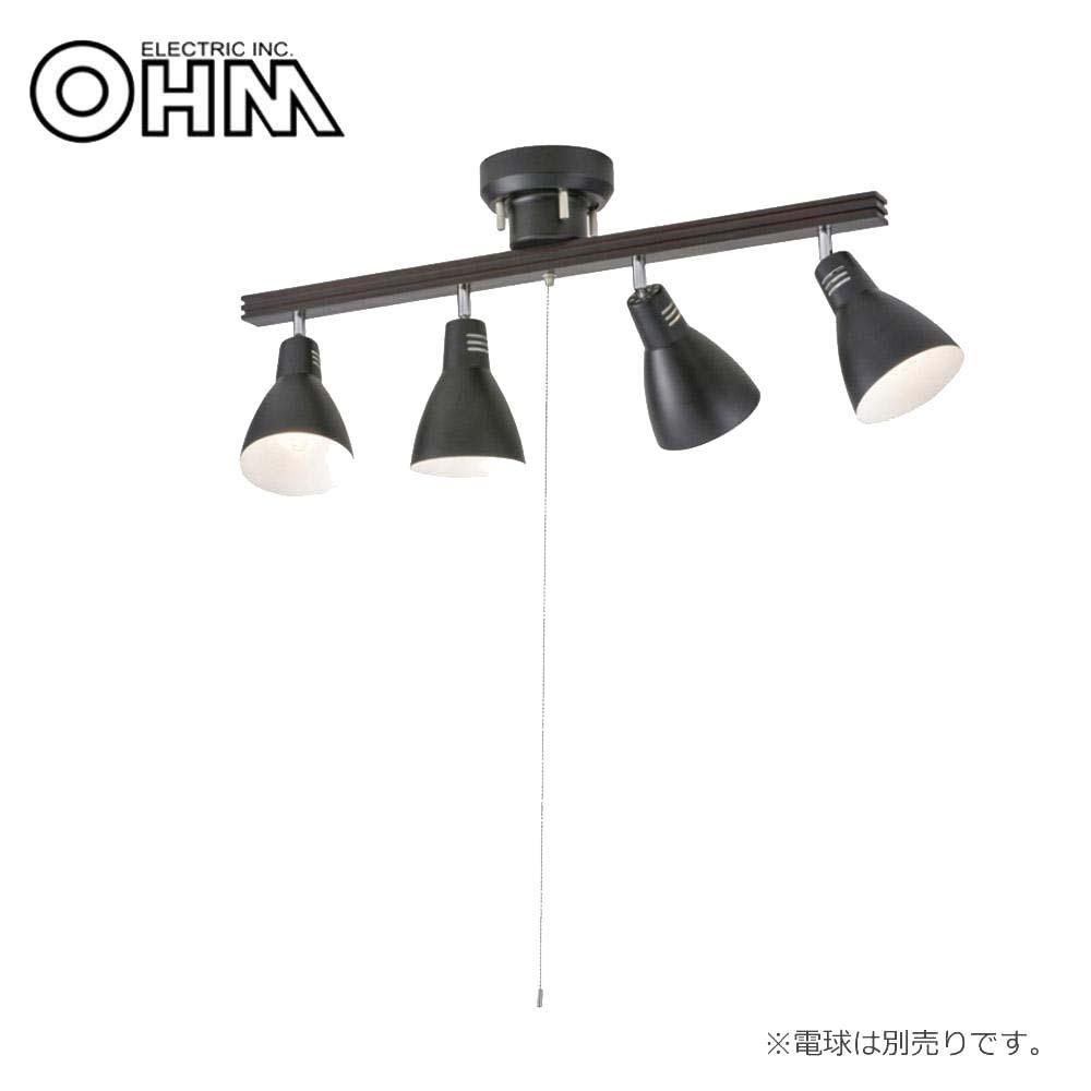 オーム電機 OHM 室内照明器具 4灯シーリングライト ブラック 電球別売 LT-YN40AW-K【代引・同梱・ラッピング不可】