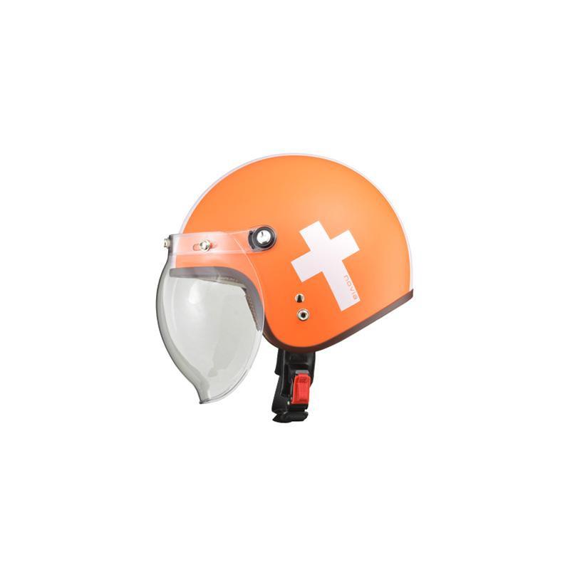 リード工業 LEAD NOVIA(ノービア) バブルシールド付スモールロージェットヘルメット クロスオレンジ レディースフリーサイズ
