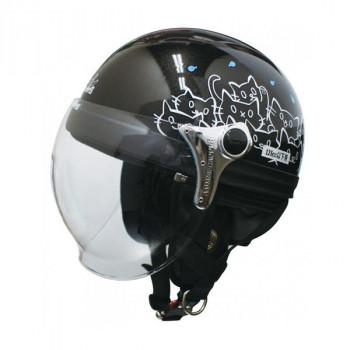 ダムトラックス(DAMMTRAX) カリーナ ハーフ ヘルメット BLACK/CAT