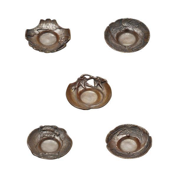 高岡銅器 茶道具 茶托 吉祥 5枚組 焼朱銅色 123-11