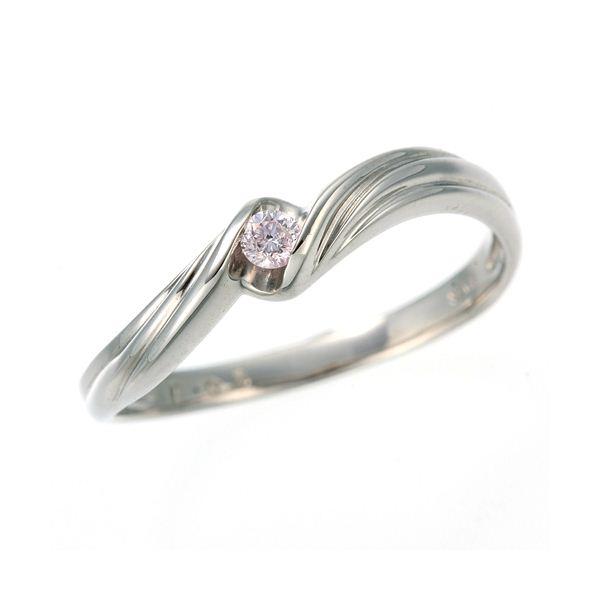 0.05ctピンクダイヤリング 指輪 ウェーブ 17号 送料無料!