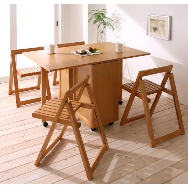 天然木バタフライ伸長式収納ダイニング kippis! キッピス 5点セット(テーブル+チェア4脚) W40-120 ナチュラル