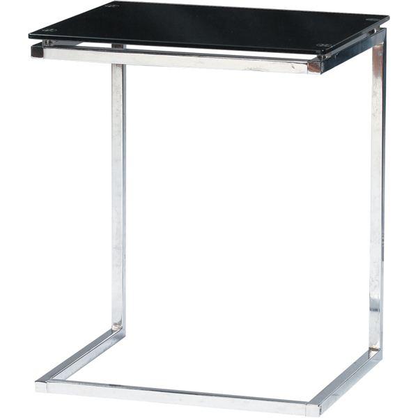 サイドテーブル スチール/強化ガラス製(ガラス天板) PT-15BK ブラック(黒) 送料込!