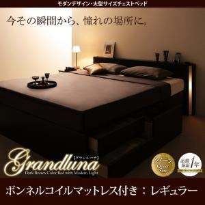 モダンデザイン・大型サイズチェストベッド Grandluna グランルーナ スタンダードボンネルコイルマットレス付き クイーン(Q×1) ダークブラウン