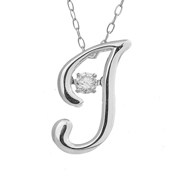 ダンシングストーン K18WG・天然ダイヤモンドシリーズイニシャル「J」ペンダント/ネックレス 送料無料!