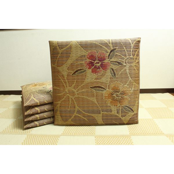 純国産/日本製 袋織 織込千鳥 い草座布団 『なでしこ 5枚組』 ベージュ 約60×60cm×5P 送料無料!