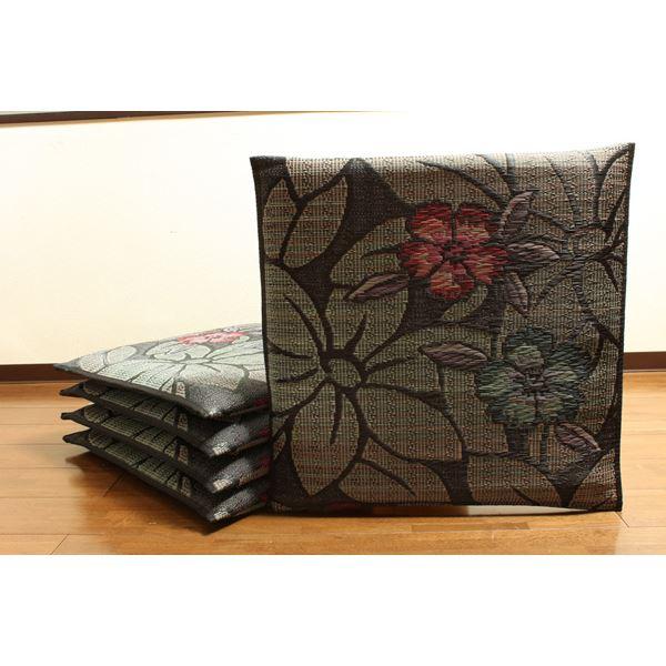 純国産/日本製 袋織 織込千鳥 い草座布団 なでしこ 5枚組 ブルー 約60×60cm×5P 送料無料!