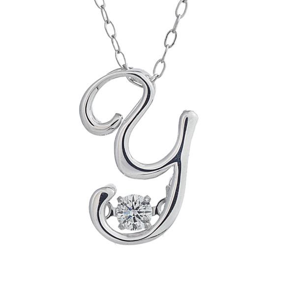 ダンシングストーン K18WG・天然ダイヤモンドシリーズイニシャル「Y」ペンダント/ネックレス 送料無料!