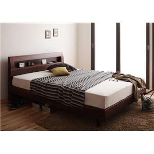 棚・コンセント付きデザインすのこベッド Haagen ハーゲン マルチラススーパースプリングマットレス付き ダブル ウォルナットブラウン