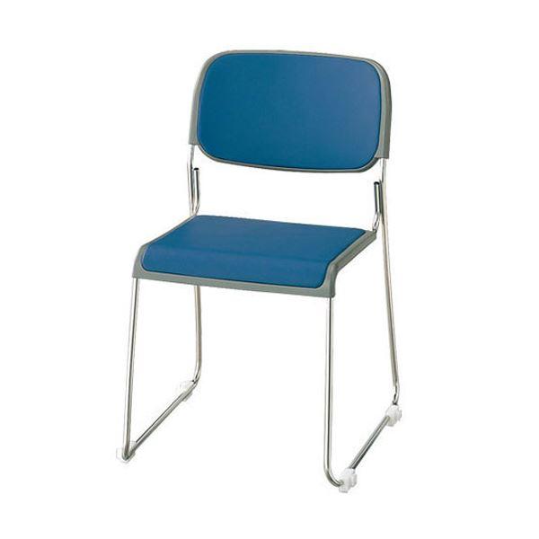 ジョインテックス 会議椅子(スタッキングチェア/ミーティングチェア) 肘なし 座面:布張り FRK-S2 ダークブルー 【完成品】 送料込!
