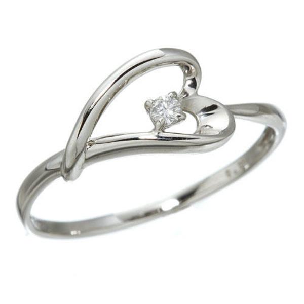 プラチナダイヤモンドデザインリング3型 ウェビングハート 7号 送料無料!
