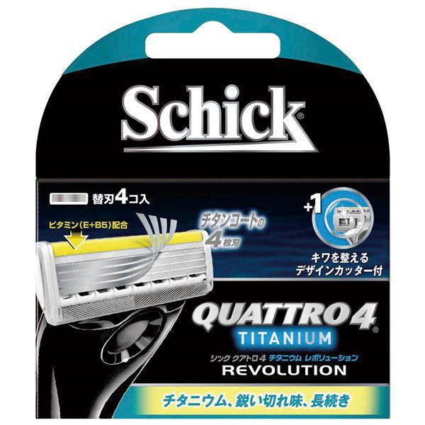 (まとめ)シック(Schick) クアトロ4チタニウムレボリューション替刃(4コ入) 【×12点セット】 送料込!