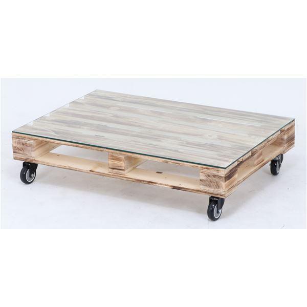 センターテーブル/ローテーブル 【幅80cm】 ガラス製天板 キャスター付き【代引不可】 送料込!