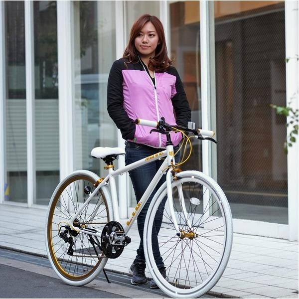 クロスバイク 700c(約28インチ)/ホワイト(白) シマノ7段変速 重さ/ 12.0kg 軽量 アルミフレーム 【LIG MOVE】【代引不可】 送料込!