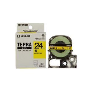 (業務用30セット) キングジム テプラPROテープ/ラベルライター用テープ 【幅:24mm】 SC24Y 黄に黒文字 送料込!