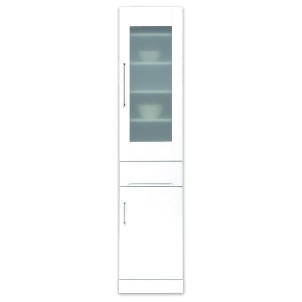 スリムボード食器棚/キッチン収納 幅40cm 飛散防止加工ガラス使用 移動棚付き 日本製 ホワイト(白) 【完成品】【代引不可】 送料込!