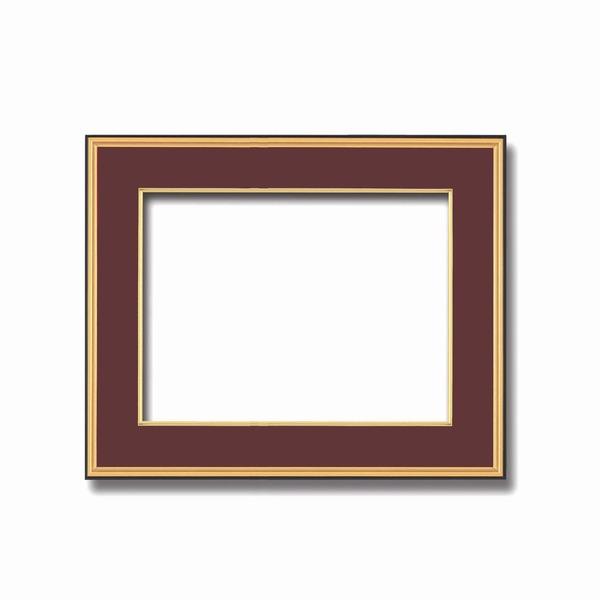 【和額】黒い縁に金色フレーム 日本画額 色紙額 木製フレーム ■黒金 色紙F8サイズ(455×380mm) エンジ 送料込!