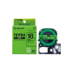 (業務用30セット) キングジム テプラPROテープ/ラベルライター用テープ 【幅:18mm】 SK18G 蛍光緑に黒文字 送料込!