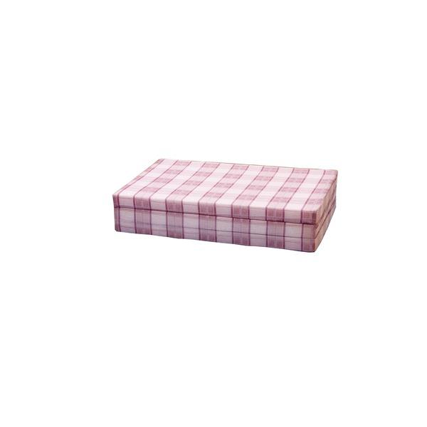 三つ折りバランスマットレス 【ダブルサイズ】 日本製 格子柄/ピンク【代引不可】 送料込!