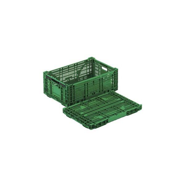 【5個セット】 折りたたみコンテナー/オリコン 【RS-MM44S】 グリーン 材質:PP ワンタッチ組立【代引不可】 送料無料!