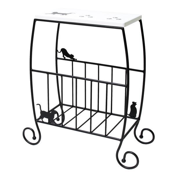 猫のサイドテーブル/ミニテーブル 【幅46cm】 スチールフレーム 収納棚付き 【完成品】【代引不可】 送料無料!