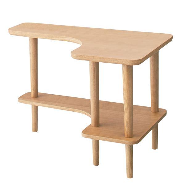 北欧調サイドテーブル/デザインミニテーブル 【幅80cm ナチュラル】 木製 棚付き NYT-781NA 送料込!