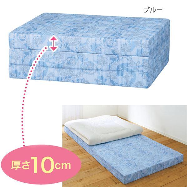 バランスマットレス/寝具 【ブルー セミダブル 厚さ10cm】 日本製 ウレタン ポリエステル 〔ベッドルーム 寝室〕 送料込!