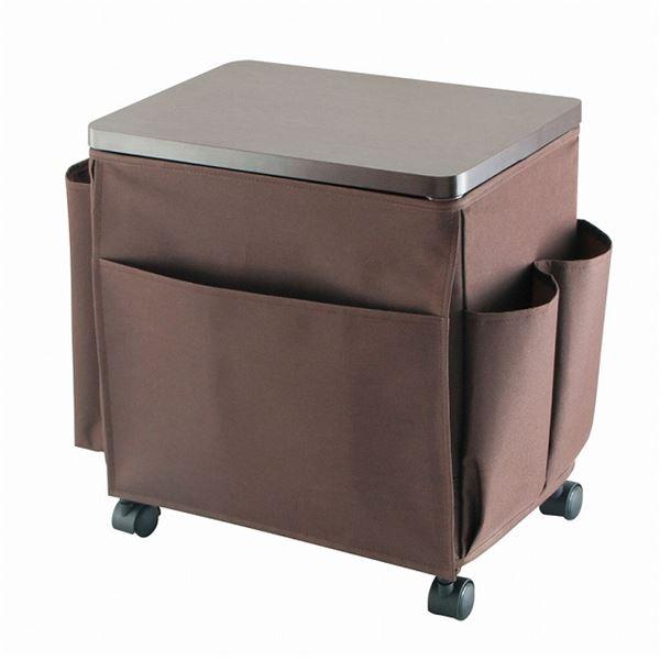 ソファーや座椅子のそばに 小物収納収ワゴン 店 ミニテーブル ウッドテーブルワゴン サイドテーブルワゴン キャスター付き 幅35cm 木製天板 送料込 日本限定 ブラウン