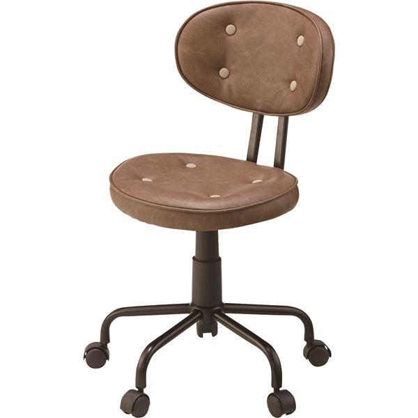 (2脚セット)東谷 デスクチェア(椅子) 昇降機能付き スチール/ソフトレザー KGI-109BR ブラウン 送料込!
