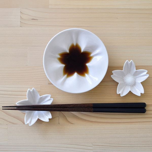 hiracle(ひらくる) さくら小皿/豆皿セット各1枚 (白/白)