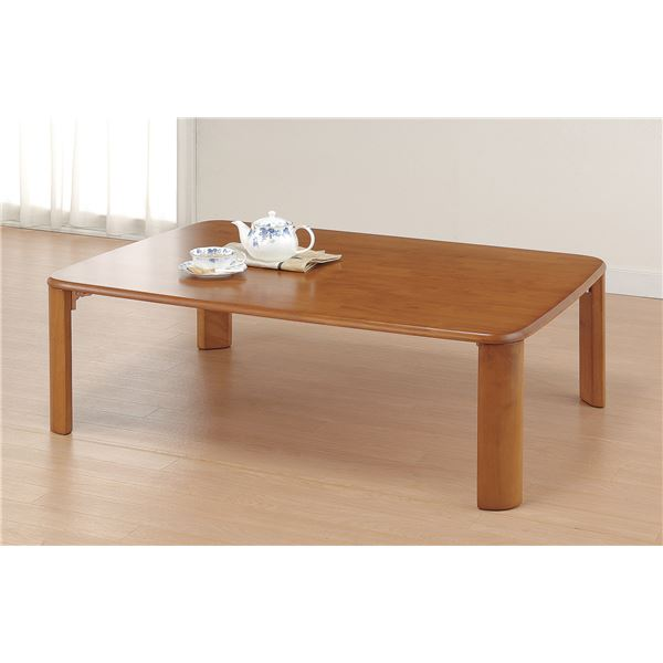 木製収納式折れ脚テーブル 105cm幅【代引不可】 送料込!