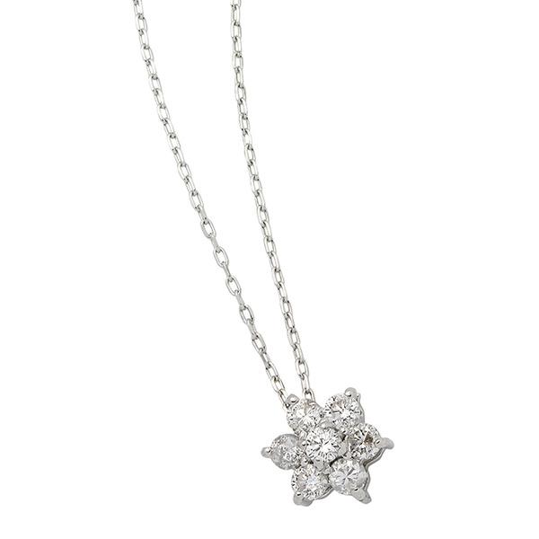 ダイヤモンド ネックレス ダイヤ7石 0.2ct 花 フラワー OUTLET SALE ダイヤモンドペンダント 人気のフラワーダイヤ K18 7粒 0.2カラット フラワーモチーフ 25%OFF ホワイトゴールド 送料無料