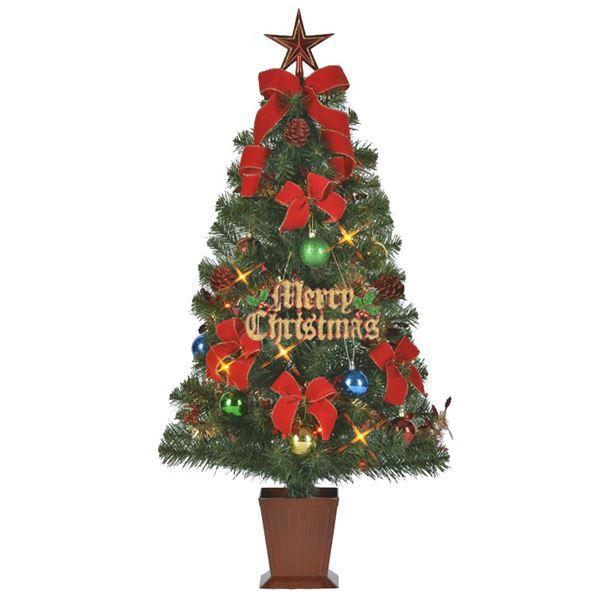 クリスマスツリー 【カラフルレッド 105cmサイズ】 四角ポット付き 『セットツリー』 〔イベント パーティー〕 送料込!
