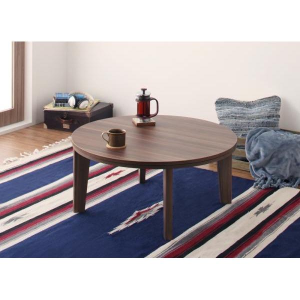 オーバル&ラウンドデザイン天板リバーシブルこたつテーブル Paleta パレタ 円形(直径80cm) ブラウン×ホワイト