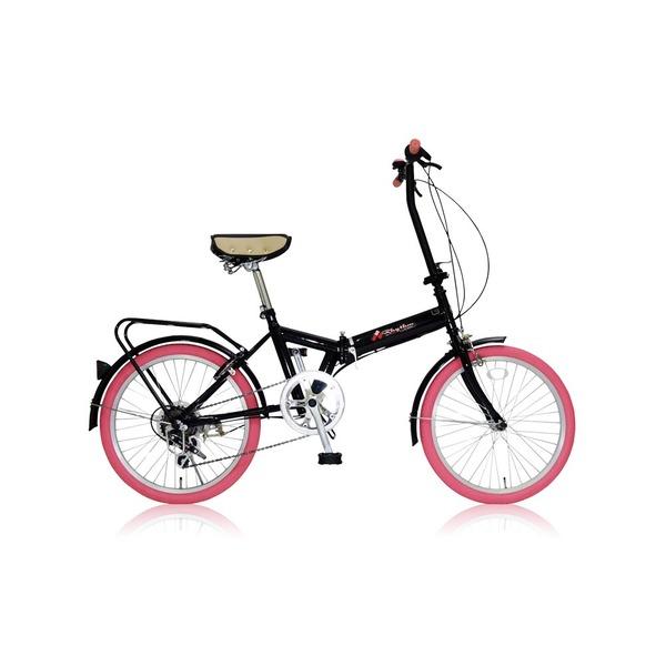 折りたたみ自転車 20インチ/ピンク シマノ6段変速 【MIWA】 ミワ FD1B-206【代引不可】 送料込!