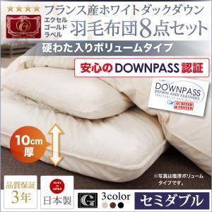 DOWNPASS認証 フランス産エクセルゴールドラベル羽毛布団8点セット プレミアム敷布団タイプ ボリュームタイプ セミダブル8点セット モカブラウン