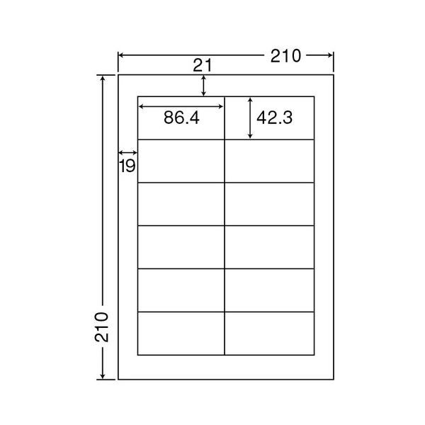 東洋印刷 ナナクリエイトカラーレーザープリンタ用ラベル A4 12面 86.4×42.3mm 四辺余白付 SCL-111箱(400シート:80シート×5冊) 送料無料!