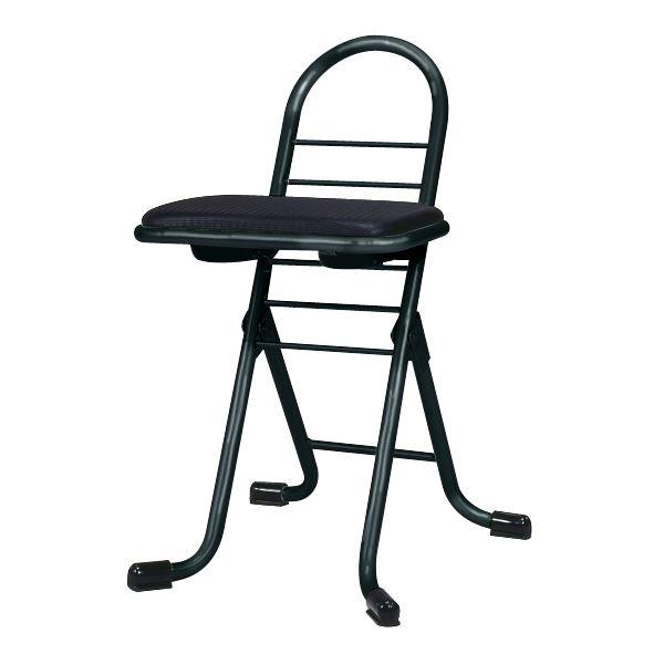 シンプル 折りたたみ椅子 【ブラック×ブラック】 幅420mm 日本製 スチールパイプ 【代引不可】 送料込!