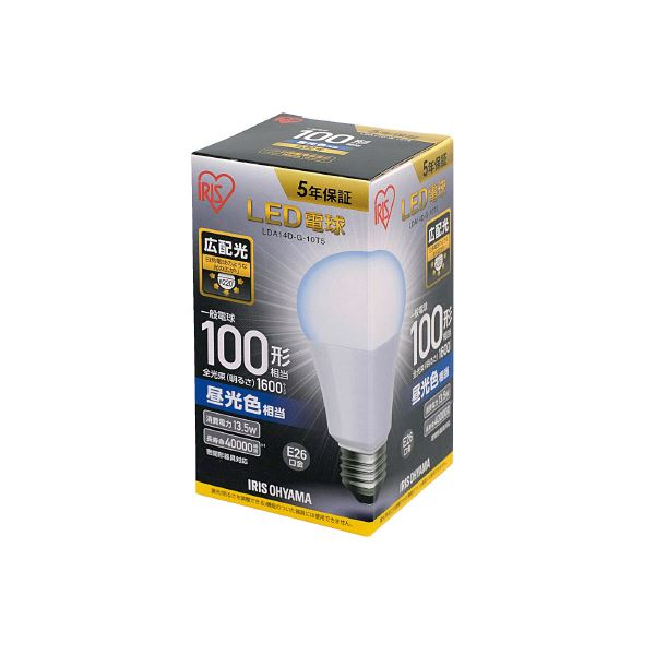 (まとめ)アイリスオーヤマ LED電球100W E26 広配 昼光 LDA14D-G-10T5【×30セット】 送料込!