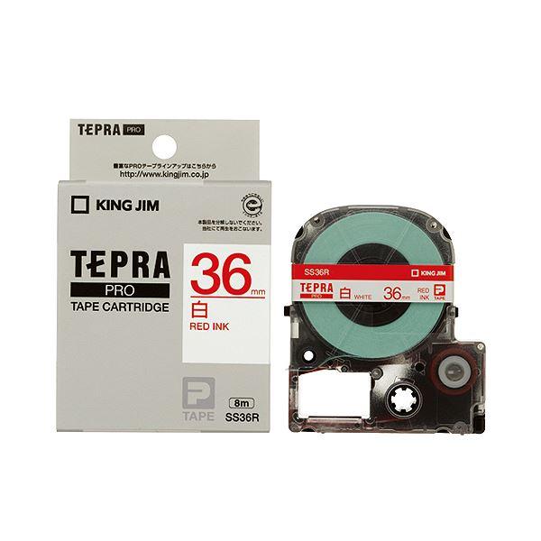 (まとめ) キングジム テプラ PRO テープカートリッジ 36mm 白/赤文字 SS36R 1個 【×5セット】 送料無料!