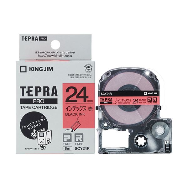(まとめ) キングジム テプラ PROテープカートリッジ インデックスラベル 24mm 赤/黒文字 SCY24R 1個 【×10セット】 送料無料!