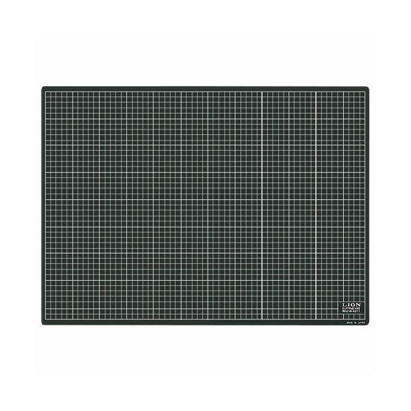 (まとめ)ライオン事務器 カッティングマット再生PVC製 両面使用 620×450×3mm 黒/黒 CM-6011 1枚【×3セット】 送料込!