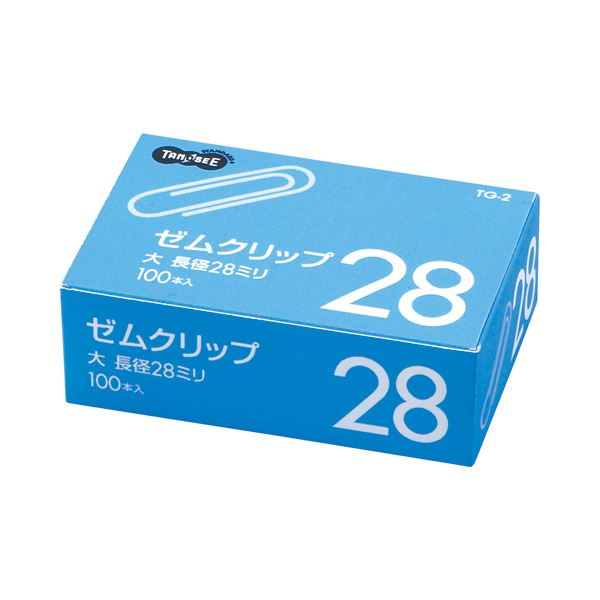 (まとめ) TANOSEE ゼムクリップ 大 28mm シルバー 1箱(100本) 【×300セット】 送料込!